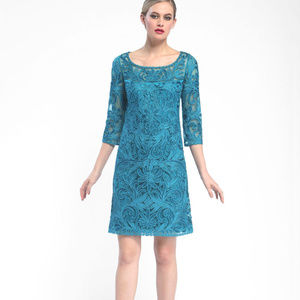 SUE WONG 3/4 Sleeve Embroidered TEAL 10 #213